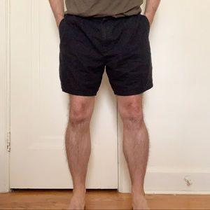"Nautica 7"" Linen Blend Flat Front Shorts Black"